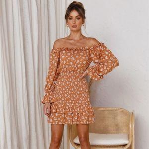 Off Shoulder Summer Dress Orange